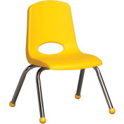 "12"" Stack Chair-Chrome Yellow Top Chrome Legs, Priced Ea, Sold 6/PK - Pkg Qty 6"