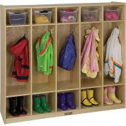 """ECR4Kids® 5-Section Birch Coat Locker, 54""""W x 13""""D x 48""""H"""