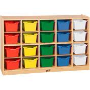 """ECR4Kids® 20 Tray Birch Cubby Storage Cabinet w/20 Assorted Bins, 48""""W x 13""""D x 30""""H"""
