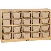 """ECR4Kids® 20 Tray Birch Cubby Storage Cabinet w/20 Sand Bins, 48""""W x 13""""D x 30""""H"""