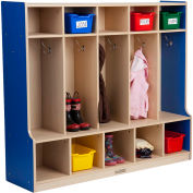"""ECR4Kids® Colorful Essentials 5-Section Coat Locker with Bench, 54""""W x 15""""D x 48""""H, Blue"""