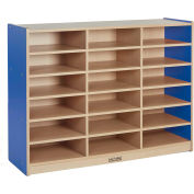 "ECR4Kids® Colorful Essentials 18-Tray Cubby Storage Cabinet, 48""W x 15""D x 36""H, Blue"