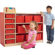 """ECR4Kids® Colorful Essentials Cubby And Shelf Multi Storage Cabinet, 48""""W x 15""""D x 36""""H, Red"""