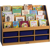 """ECR4Kids® Large Book Stand, 6-Compartment, 48""""W x 15""""D x 36""""H, Blue"""