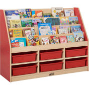 """ECR4Kids® Large Book Stand, 6-Compartment, 48""""W x 15""""D x 36""""H, Red"""