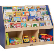 "ECR4Kids® Large Book Stand 3-Tray, 48""W x 15""D x 36""H, Blue"