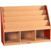 "ECR4Kids® Large Book Stand 3-Tray, 48""W x 15""D x 36""H, Red"