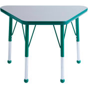 20x33 Trapezoid Activity Table Gray Top Green Edge Green Std Leg Ball Glide