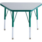 20x33 Trapezoid Activity Table Gray Top Green Edge Green Std Leg Swivel Glide