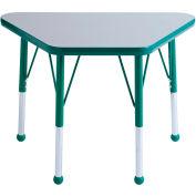20x33 Trapezoid Activity Table Gray Top Green Edge Green Juvenile Leg Ball Glide