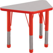 20x33 Trapezoid Activity Table Gray Top Red Edge Red Chunky Leg Ball Glide