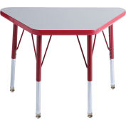 20x33 Trapezoid Activity Table Gray Top Red Edge Red Juvenile Leg Swivel Glide