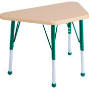 20x33 Trapezoid Activity Table Maple Top Maple Edge Green Std Leg Ball Glide