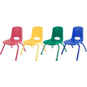 """ECR4Kids® 12"""" Stack Chair with Matching Legs & Ball Glides Assorted Colors 6 Pack"""