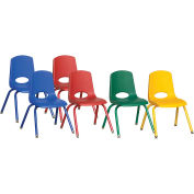 "ECR4Kids® 14"" Stack Chair with Matching Legs & Swivel Glides Assorted Colors 6 Pack"
