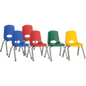 "ECR4Kids® 16"" Stack Chair with Chrome Legs & Ball Glides Assorted Colors 6 Pack"