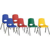 """ECR4Kids® 16"""" Stack Chair with Chrome Legs & Swivel Glides Assorted Colors 6 Pack"""
