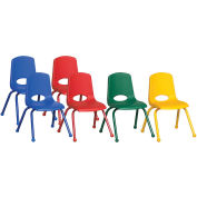 "ECR4Kids® 16"" Stack Chair with Matching Legs & Ball Glides Assorted Colors 6 Pack"