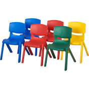 "ECR4Kids® 12"" Assorted Poly Resin Chair 6 Pack -  Two Blue, Two Red, 1 Yellow & 1 Green"