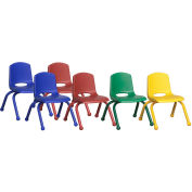 "ECR4Kids® 10"" Stack Chair with  Matching Leg & Ball Glides Assorted Colors 6 Pack"