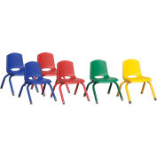 "ECR4Kids® 10"" Stack Chair with  Matching Leg & Swivel Glides Assorted Colors 6 Pack"