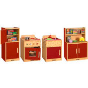 ECR4Kids® Colorful Essentials Play Kitchen - 4 Pc. - Red