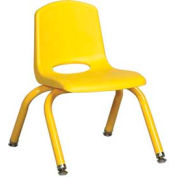 "10"" School Stack Chair Yellow Seat Yellow Coordinating Legs Swivel Glide, Priced Ea, Sold 6/PK - Pkg Qty 6"