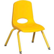 "12"" School Stack Chair Yellow Seat Yellow Coordinating Legs Swivel Glide, Priced Ea, Sold 6/PK - Pkg Qty 6"
