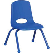 "14"" School Stack Chair Blue Seat Blue Coordinating Legs Ball Glide, Priced Ea, Sold 6/PK - Pkg Qty 6"