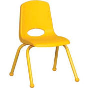 "14"" School Stack Chair Yellow Seat Yellow Coordinating Legs Ball Glide, Priced Ea, Sold 6/PK - Pkg Qty 6"