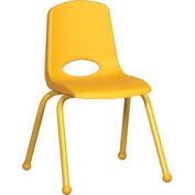 "16"" School Stack Chair Yellow Seat Yellow Coordinating Legs Ball Glide, Priced Ea, Sold 6/PK - Pkg Qty 6"