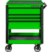 "Extreme Tools EX3304TCGNBK 33""W x 22-7/8""D 4 Drawer Green Deluxe Tool Cart W/Bumpers Black Pulls"