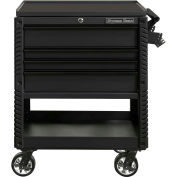 "Extreme Tools EX3304TCMBBK 33""Wx22-7/8""Dx44-1/4""H 4 Drawer Matte Black Deluxe Tool Cart W/ Bumpers"