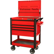 "Extreme Tools EX3304TCRDBK 33""Wx22-7/8""D 4 Drawer Deluxe Red Tool Cart W/Bumpers Black Drawer Pulls"