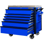 "Extreme Tools EX4106TCSBLBK 41""Wx25-3/4""Dx43-7/8""H 6 Drawer Blue Sliding Top Tool Cart Black Pulls"