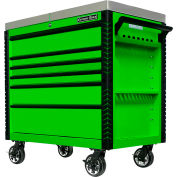 "Extreme Tools EX4106TCSGNBK 41""Wx25-3/4""Dx43-7/8""H 6 Drawer Green Sliding Top Tool Cart Black Pulls"