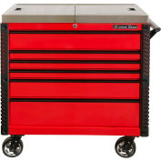 "Extreme Tools EX4106TCSRDBK 41""W x 25-3/4""D x 43-7/8""H 6 Drawer Red Sliding Top Tool Cart"