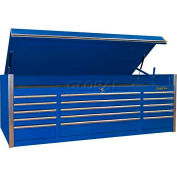 """Extreme Tools 72"""" 15 Drawer Triple Bank Professional Top Chest in Blue"""
