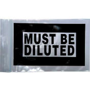 """Must Be Diluted"" Seal Top Reclosable Bag, 2 mil, 4"" x 6"", Pkg Qty 1000"