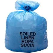 "High-Density Blue Soiled Linen Liners, 14 Micron, 33 Gallon, 31""W x 43""L, 250/Case"