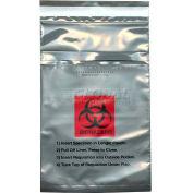 "Gray Opaque Adhesive Closure Tamper-Evident 3-Wall Specimen Transfer Bag, 6"" x 10-1/4"", Pkg Qty 1000"