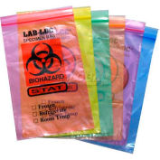 "Reclosable 2-Wall Specimen Transfer Bag (Biohazard), 12"" x 15"", Pink Tint, Pkg Qty 1000"