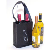 Non-Woven Polypropylene Bag  Wine Bag - 2 Bottle Beverage  9.25 x 7 80 GSM Mil, Pkg Qty 600