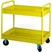 "Equipto® 150 4"" Deep 2 Shelf Stock Cart 500 Lb. 36x24x36 - Textured Safety Yellow"