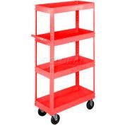 Equipto® 163 Stock Cart 4 Shelves 800 Lb. Cap. 30x16x60 - Textured Cherry Red