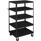 Equipto® 164D Stock Cart 5 Shelves 800 Lb. Cap. 30x16x60 - Textured Black