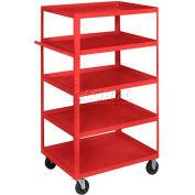 Equipto® 164D Stock Cart 5 Shelves 800 Lb. 30x16x60 - Textured Cherry Red