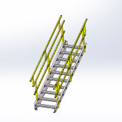 """Equipto 1724S04 OSHA Stairway 24"""" Width, 4 Stairs"""