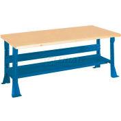 Open Leg Workbench w/ Shop Top Square Edge w/Shelf,  5',  Blue