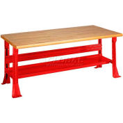 Open Leg Bench w/Shelf and Maple Butcher Block Safety Edge-72x30x34, Red